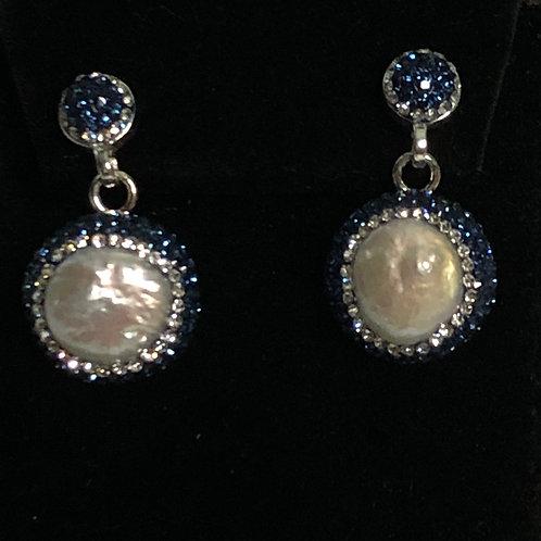 Round white Freshwater PIERCED Pearl Earrings  Swarovski