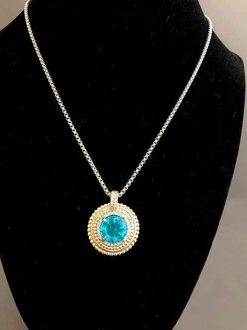 Designer look Blue/Turquoise round pendant