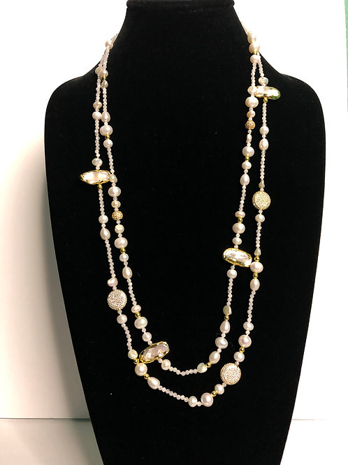 Double strand white Freshwater pearls