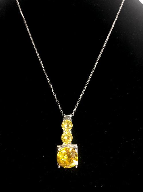 Designer look silver with canary diamond cubic zircon pendant