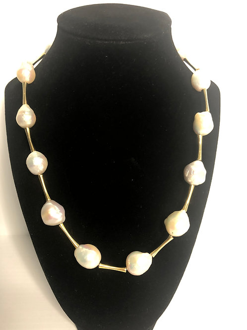 White large mm FWP necklace with gold over sterling silver