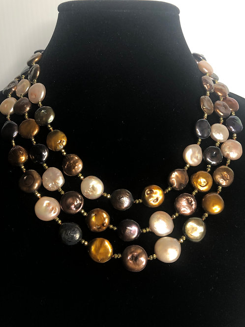Triple strand brown, creme, gold large mm FWP coin pearls