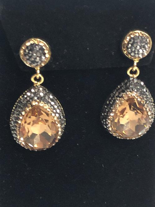Gold Austrian crystal tear drop shaped pierced earrings
