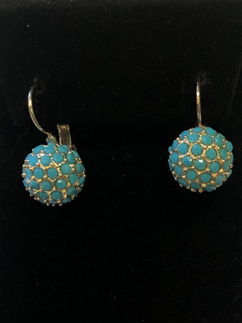 Turquoise ball lever back earring in gold metal