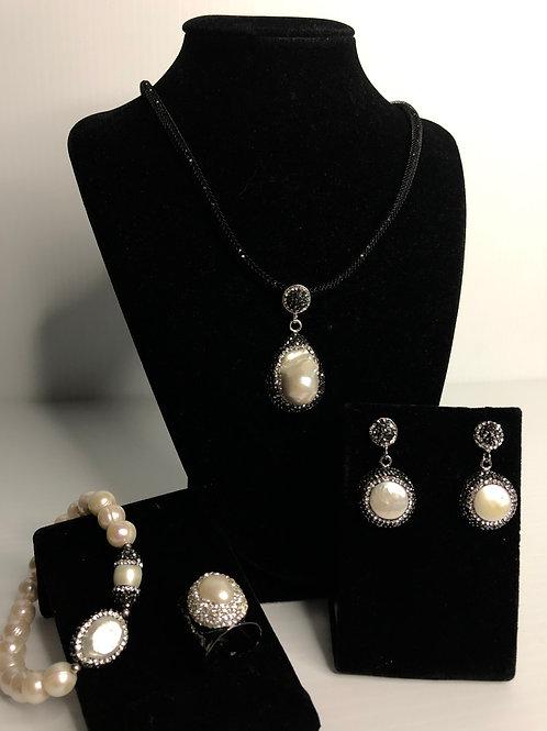 4 PC SET - White FWP necklace, earrings, bracelet & ring