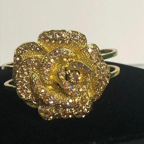 Gold and champagne flower hinged bracelet