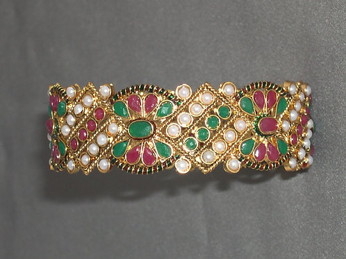 Indian bangle with rubies, jade and freshwater pearls