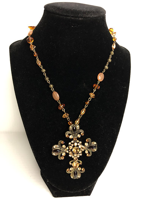 Large crystal cross gallery wrapped with adjustable clasp
