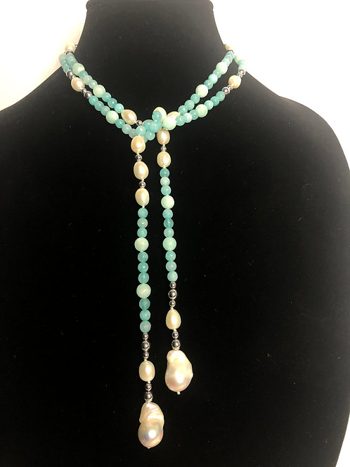 Sky blue natural stones with sterling silver beads andPEARLS