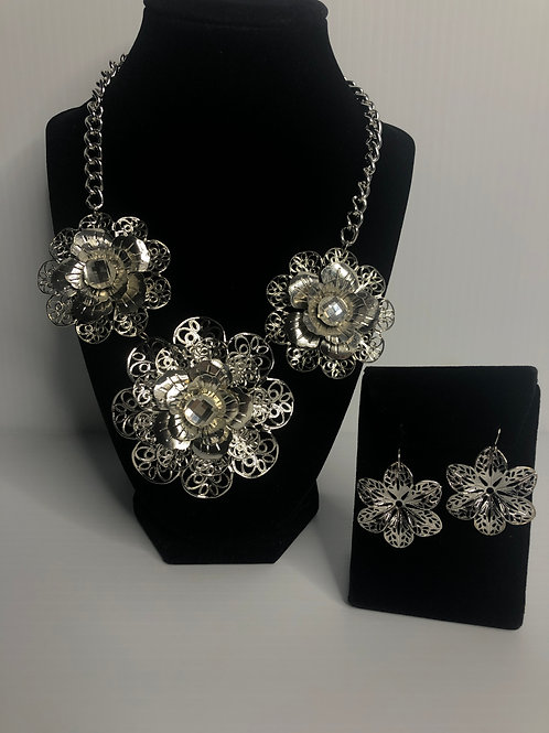 Silver plated large flower necklace and earring set
