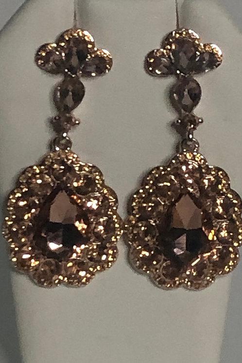 Rose gold drop crystal pierced earring