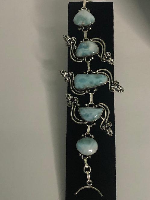 Sterling silver, Larimar toggle bracelet