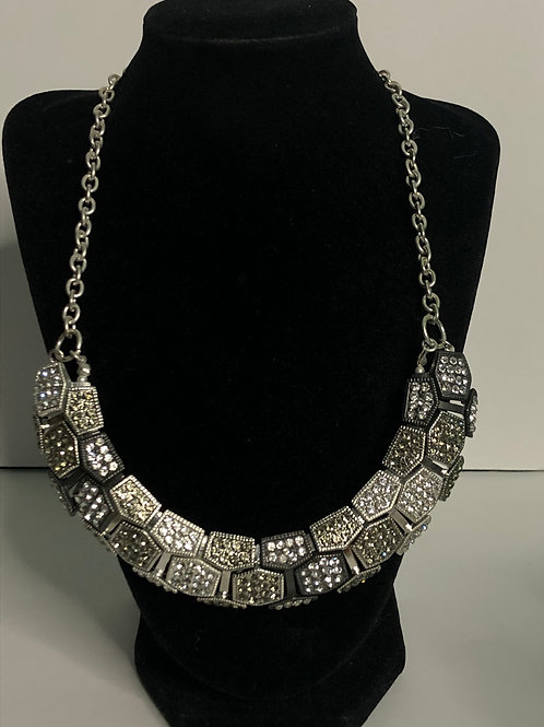 Checkered black and white Austrian crystal bib necklace
