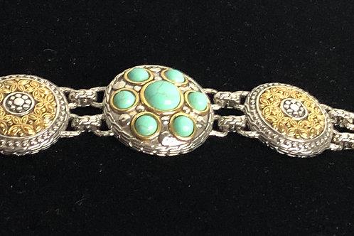 Designer Moroccan two tone with turquoise stones bracelet