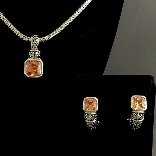 Designer look detachable Champagne pendant/earrings
