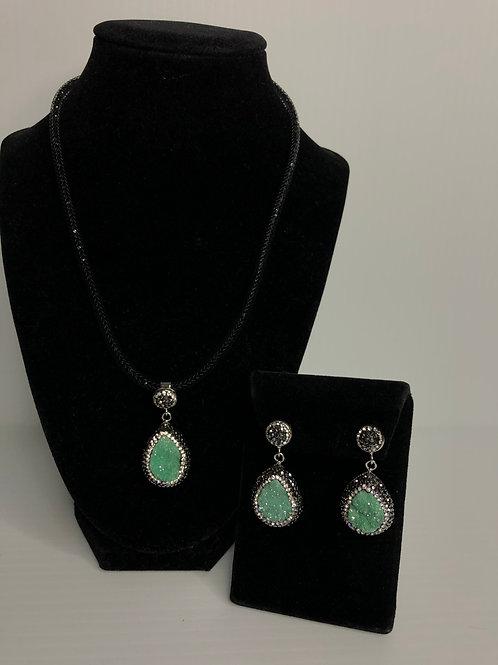 Tear drop Turquoise Druzy on Silver crystal Pendant & Earrings