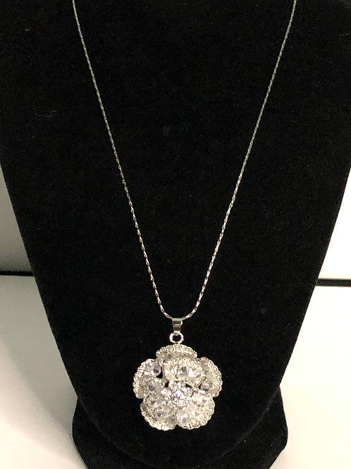 Silver flower pendant with Austrian crystals