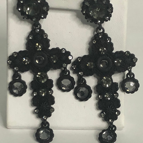 Black crystal chandalier earring