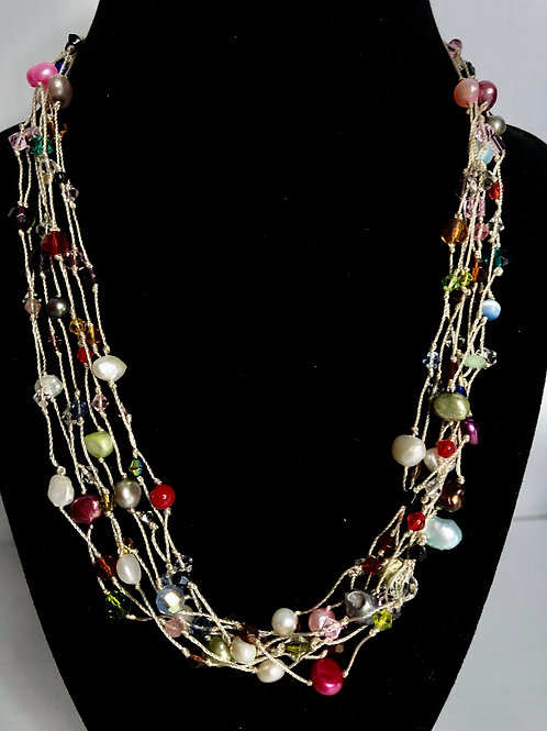 7 strand Crème notted multi color FWP necklace