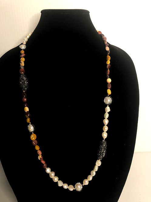 White FWP necklace with brown natural stones