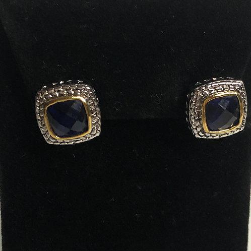 Designer look NAVY BLUECubic Zircon lever back earrings