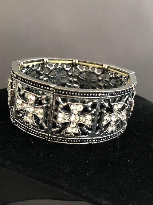 Silver cross design elastic bracelet