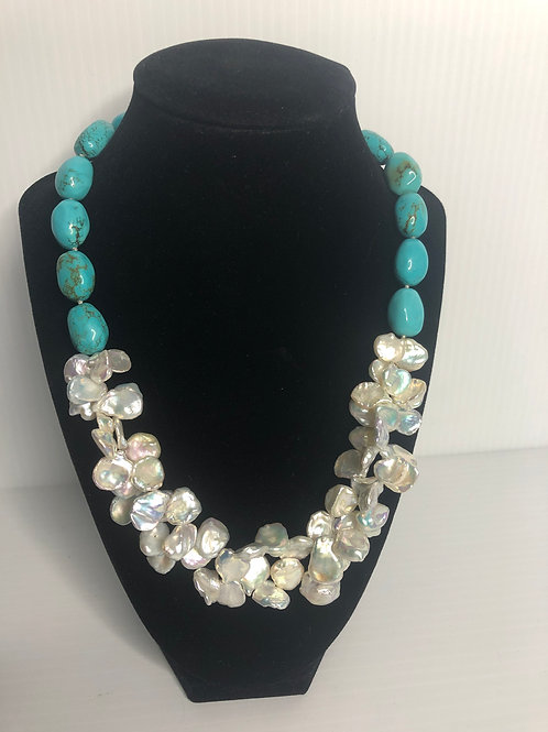 Turquoise oval shaped necklace with white Keshi multi FWP
