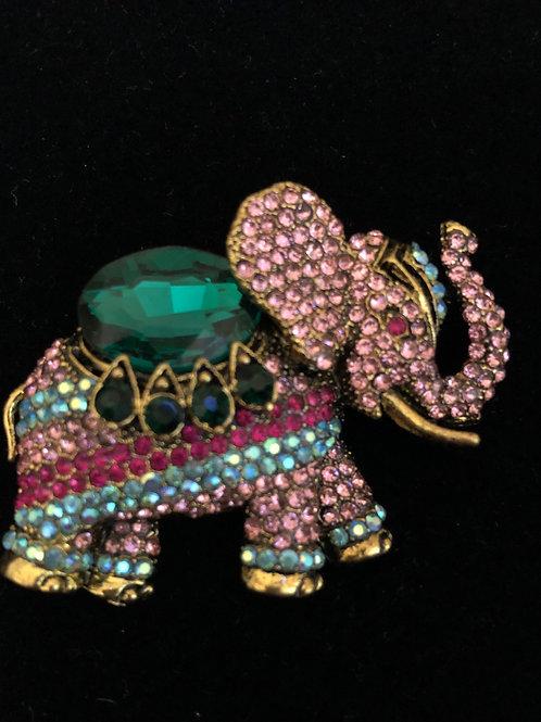 Multi colored Austrian crystal elephant brooch