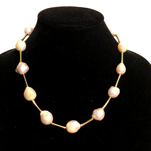 Gold metal necklace with large white Freshwater pearls