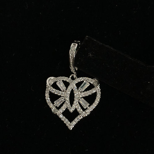 Silver heart enhancer in stainless steel with clear Austrian crystals