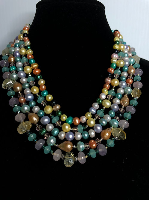 5 strands of multi color stones and FWP