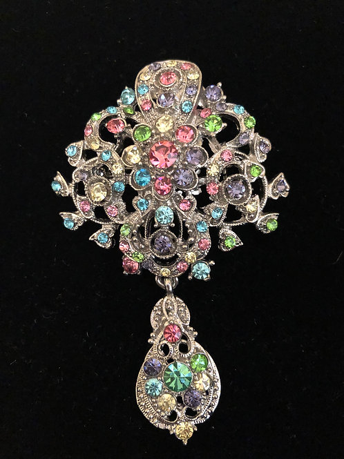 Multi colored Austrian crystal tear drop brooch