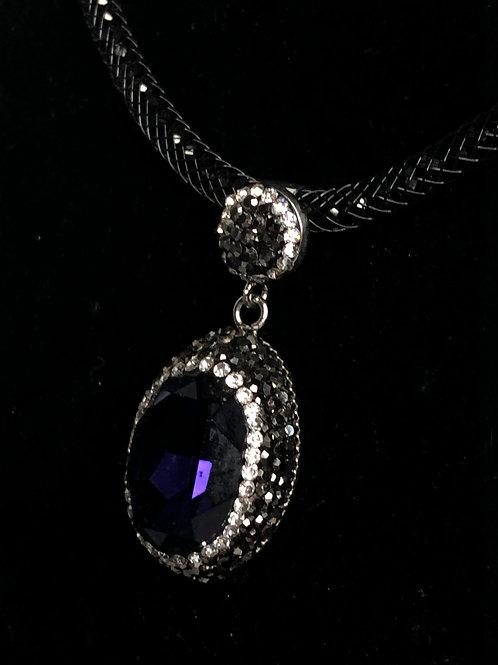 Oval purple on silver Austrian crystal Pendant