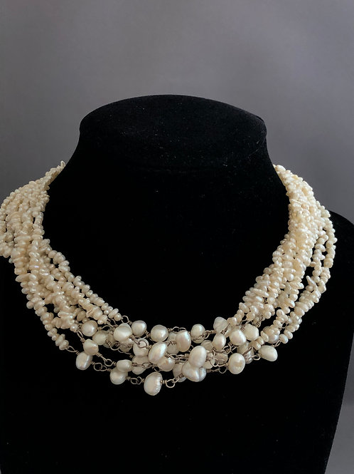 Necklace with 8 strands of Freshwater Cultured Pearls