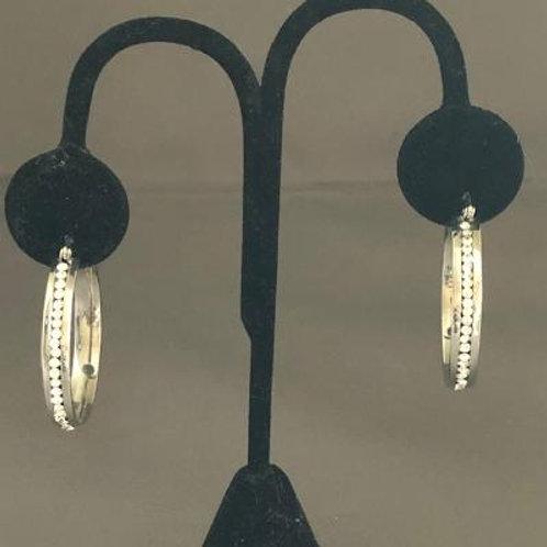 Medium stainless silver steel with clear Swarovski crystal hoop