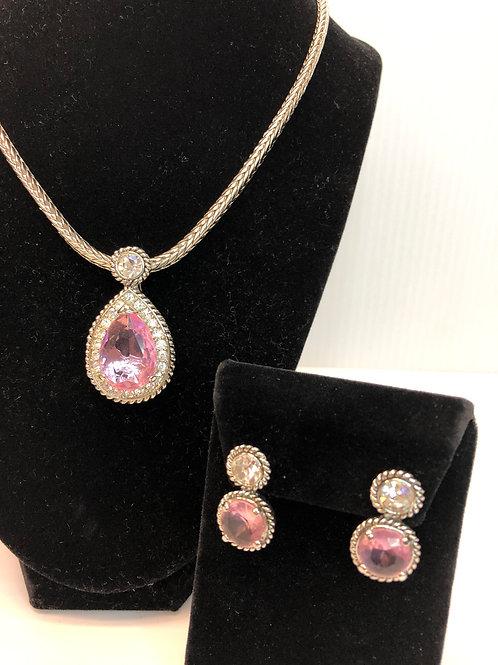 Designer Pink Tear Drop pendant & earrings