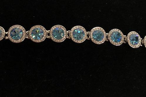 Swarovski crystal round line bracelet - SKY BLUE