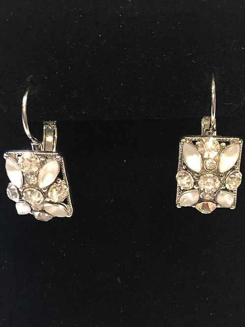Flower design lever back earring