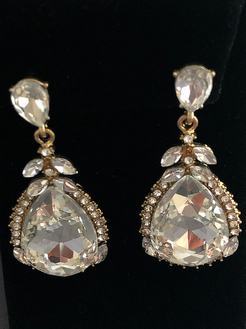 Gold pierced earring  with large clear Austrian crystal