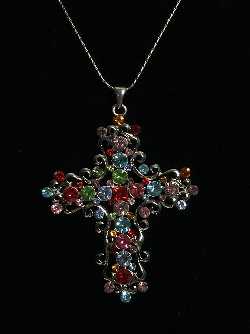 Large multi colored Austrian crystal cross necklace