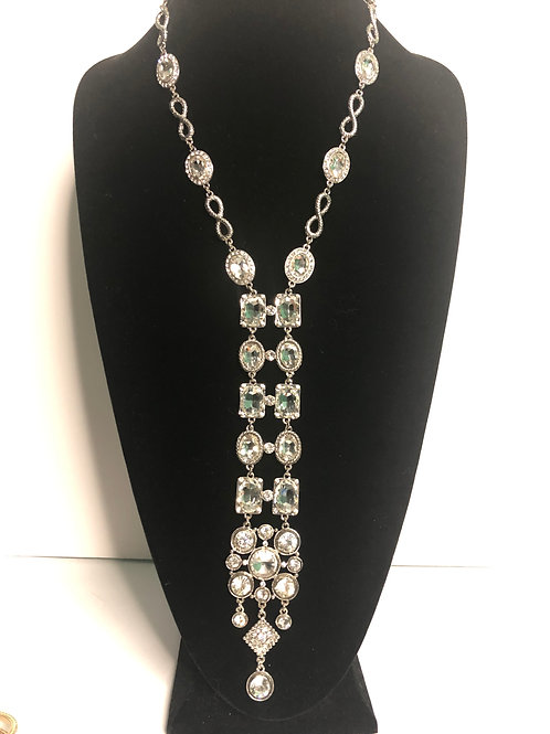 """Y"" drop clear crystal dramatic necklace"