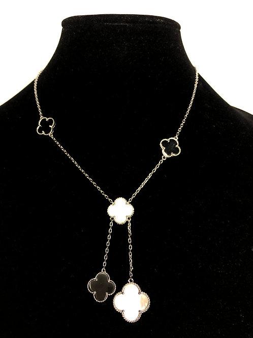 Designer look cloverleaf abalone design necklace