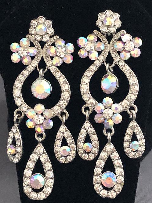 Chandelier Aurora Borealis drop pierced earrings