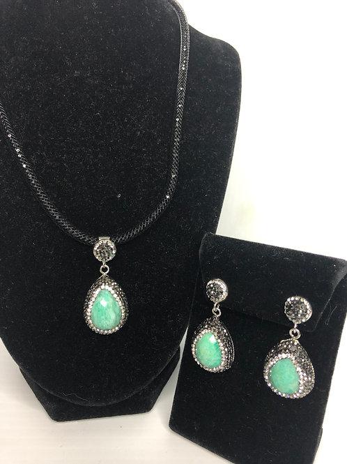 Tear drop Pendant & Earrings in Amazonite