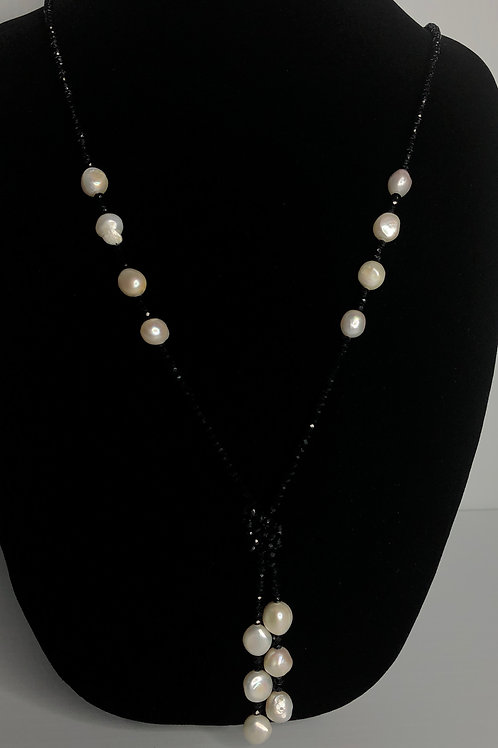 """""""Y"""" drop black Czech crystals with white oval FWP dropping"""