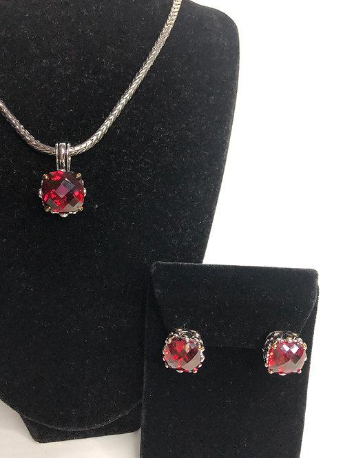 Designer look Red pendant & Lever Back Earrings