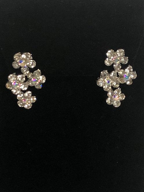 Aurora Borealis crystal flower pierced earring