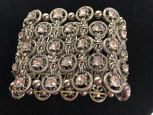 Wide Moroccan bracelet in intricate design with Austrian crystals