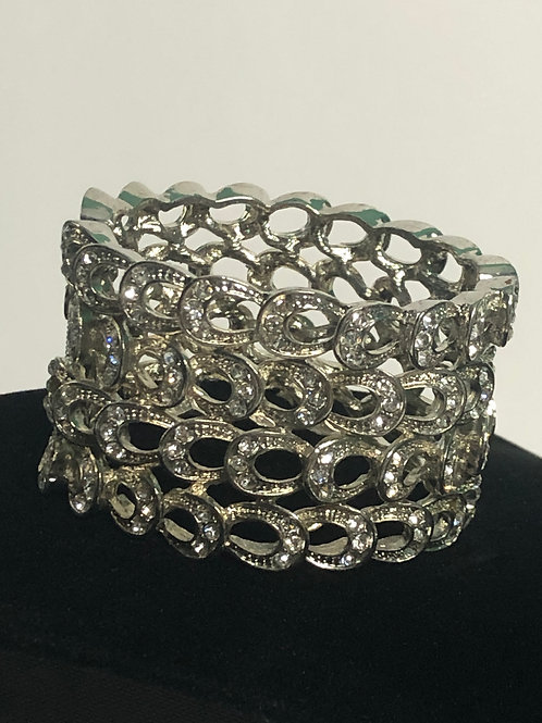 Wide silver hinged bracelet with clear Austrian crystals
