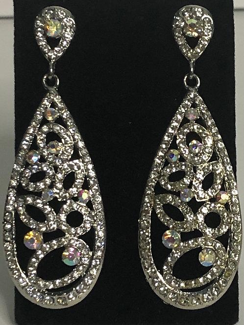 Tear drop Aurora Borealis crystal pierced earring